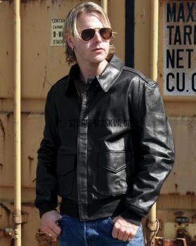 Лётная кожаная куртка А2 чёрная