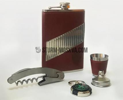 Подарочный набор с фляжкой (фляжка, стопка, воронка, брелок, штопор)